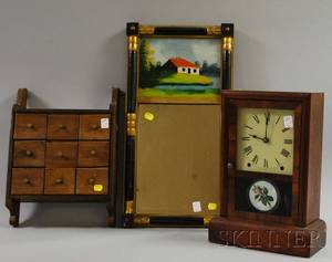 Wooden NineDrawer Spice Wall Box a Seth Thomas Rosewood Veneer Shelf Clock and a Painted Splitbaluster Mirror with Reversepaint