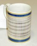 Mocha mug with brown line and dot decoration on ah
