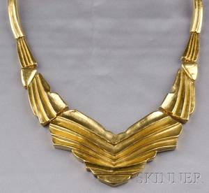22kt Greek Gold Draped Clothe Necklace Ilias Lalaounis