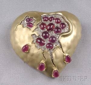 18kt Gold Ruby and Diamond Pomegranate Heart Brooch Salvador Dali Henryk Kaston