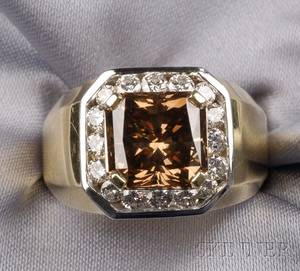 18kt Bicolor Gold Fancy Brown Diamond and Diamond Ring