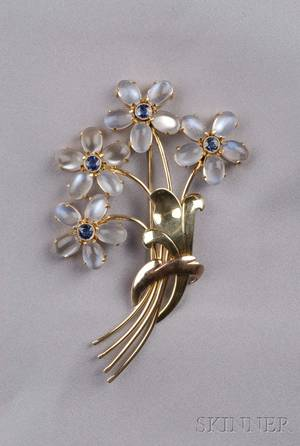 Retro 14kt Gold Moonstone and Sapphire Brooch Wordley Allsopp  Bliss