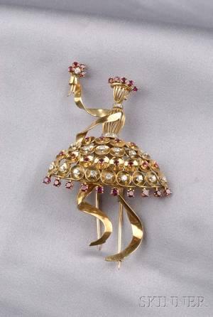 Retro 18kt Gold Ruby and Diamond Ballerina Brooch