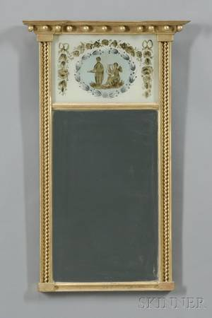 Federalstyle Gilt Gesso and Eglomise Mirror