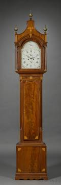Federal Mahogany Inlaid Tall Clock by Effingham Embree