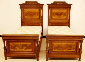 Pair of 19th C French Walnut Twin Beds