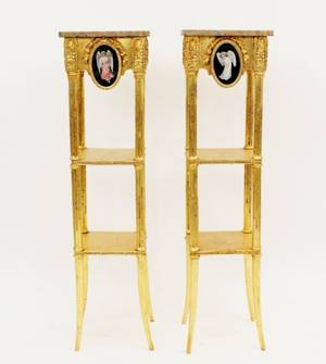 Pair Louis XVI Style Giltwood Marble Top Stands