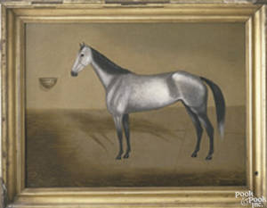 American oil on canvas horse portrait mid 19th c