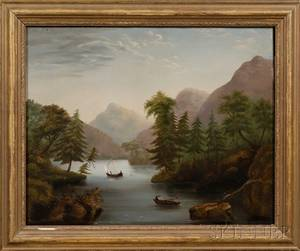 American School 19th Century Boating on the River