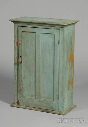 Bluepainted Pine Hanging Cupboard