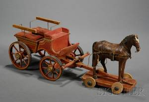 Painted Wooden Horse Pulltoy and Carriage