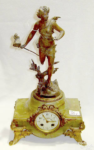 French marble and bronze mantle clock late 19th c