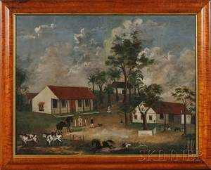 American School 19th Century Primitive Portrait with Figures and Animals in a Tropical Farming Compound
