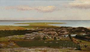 William Corning Stacy American 18361919 Coastal Landscape with Pastures and Farmland