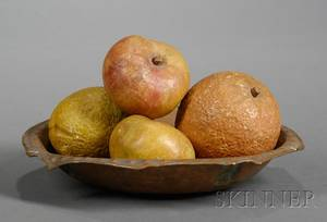 Copper Dish with Four Pieces of Stone Fruit