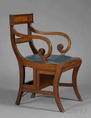 Regency Carved Mahogany and Mahogany Veneer Metamorphic Library Step Chair