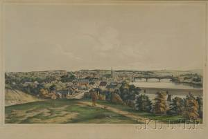 Tappan  Bradford lithographers Boston 19th Century VIEW OF HAVERHILL MASS FROM SILVER HILL NOV 1850