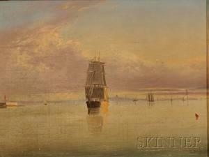 Clement Drew American 18061889 Boston Harbor Sunset