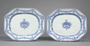 Pair of Blue and White Chinese Export Porcelain Armorial Platters