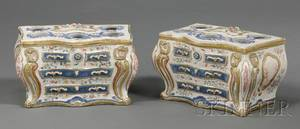 Pair of Chinese Export Polychrome Enameled and Parcelgilt Crocus Pots