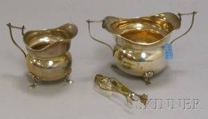 English Sterling Creamer and Open Sugar with a Pair of American Sugar Tongs