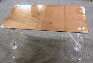 Art Deco Peach Mirror Glasstop and Lucite Coffee Table
