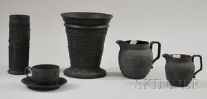 Six Wedgwood Black Basalt Items