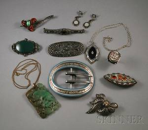 Group of Art Deco Marcasite and Other Jewelry Items