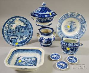 Eight Pieces of English Blue and White Transfer Decorated Staffordshire Tableware and a Chinese Canton Porcelain Serving Bowl