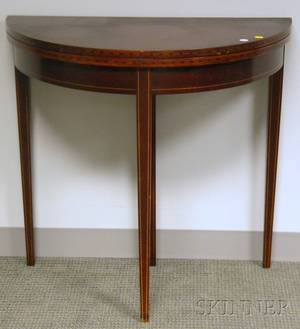 Brandt Federalstyle Inlaid Mahogany and Mahogany Veneer Demilune Card Table