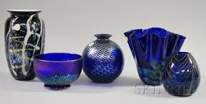 Four Contemporary Studio Iridescent Colored Art Glass Vases and a Bowl