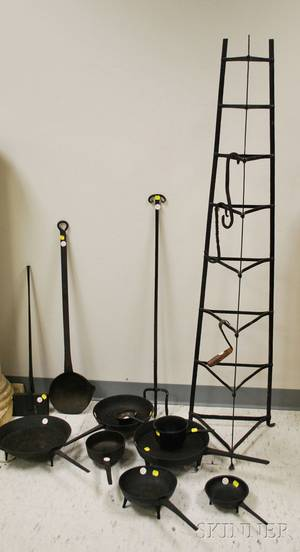 Fifteen Pieces of Wrought and Cast Iron Hearth and Fireplace Items