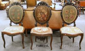 Set of Five Victorian Rococo Revival Needlepoint Upholstered Carved Walnut and Rosewood Veneer Parlor Side Chairs