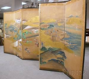 Japanese Painted Village Scene on Paper SixPanel Folding Floor Screen