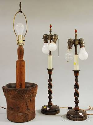 Pair of Oak Barleytwist CandlestickTable Lamps and a Burlwood Mortar and PestleTable Lamp