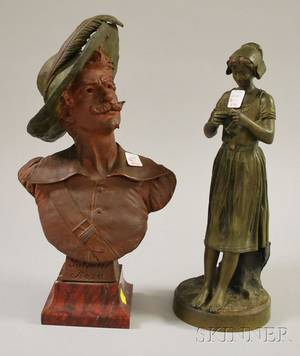 Bronze Sculpture of a Maiden with Knitting and a Patinated Cast Metal Bust of Salvator Rosa