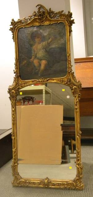 Louis XV Style Carved Giltwood Trumeau Mirror with Painted Child and Bird Genre Scene Decorated Canvas Panel
