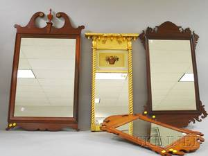 Paine Furniture Federalstyle Giltwood Tabernacle Mirror a Federalstyle Maple Mirror and Two Chippendalestyle Mahogany Mirrors