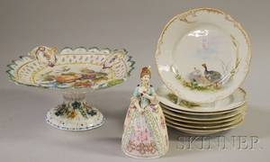 Meissenstyle Porcelain Figural Bell an Italian Handpainted Floral Tin Glazed Ceramic Compote and a Set of Seven Handpainted Wil