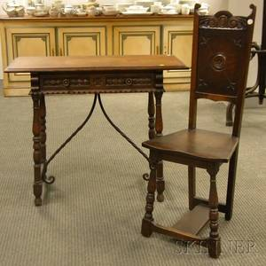 Spanishstyle Carved Oak and Wrought Iron Side Table and Side Chair