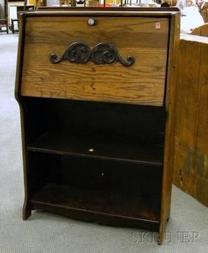 Late Victorian Oak Fallfront Writing Desk
