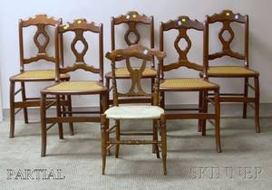 Set of Six Victorian Black Walnut Side Chairs with Caned Seats a Single Rosewood Grained Ballroom Chair and a Dolls Walnut Doveta