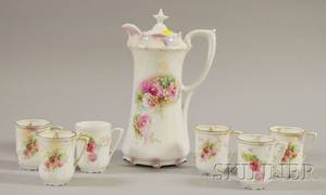 RS Prussia Rose Transfer Decorated Porcelain Chocolate Pot and a Set of Six Cups
