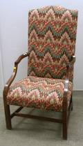 Federal Upholstered Inlaid Mahogany Lolling Chair