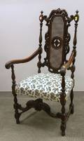 Jacobeanstyle Caned and Upholstered Carved Mahogany Armchair