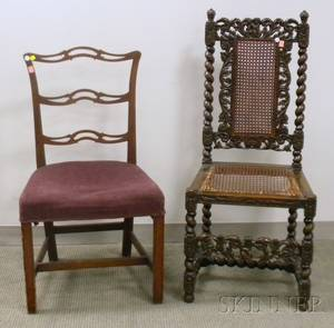 Jacobeanstyle Caned Carved Beechwood Side Chair and a Chippendalestyle Upholstered Mahogany Ribbonback Side Chair