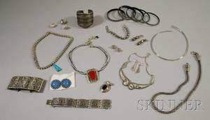 Group of Silver and White Gold Jewelry