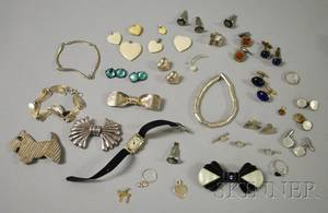 Art Deco White Gold Diamond and Gemstone Watch and an Assorted Group of Silver and Costume Jewelry