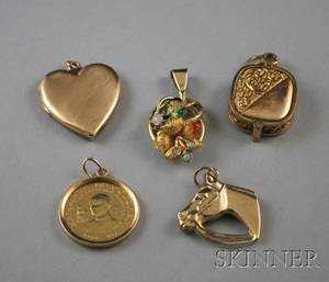 Five Small Mostly Gold Jewelry Items