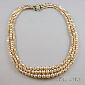 Triplestrand Faux Pearl Necklace